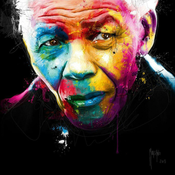 nelson mandela, nelson mandela with color face