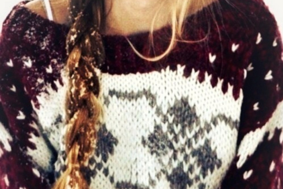 hair braid with snow, winter sweater with braid,