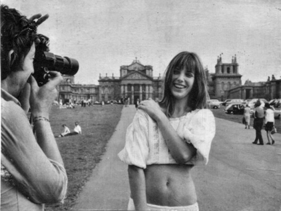 Jane Birkin being photographed in a white shirt, Jane Birkin, Growing out Bangs, Behind the Mirror