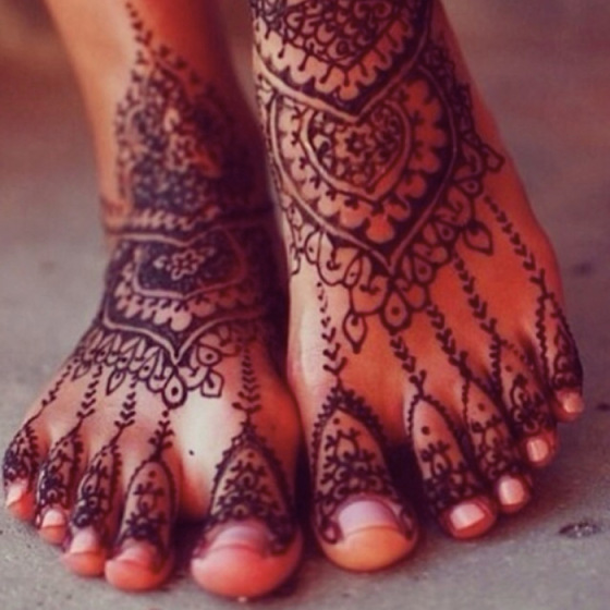 feet with henna tattoo, behind the mirror, over and done