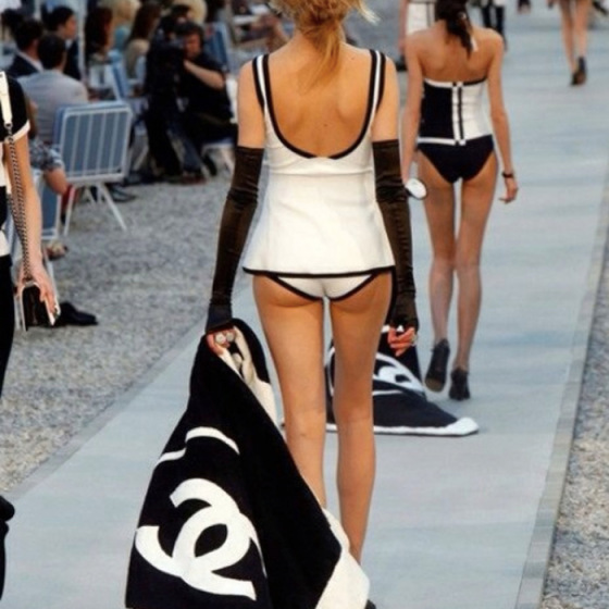 chanel show, chanel bathing suit, chanel beach towel,behind the mirror, over and done