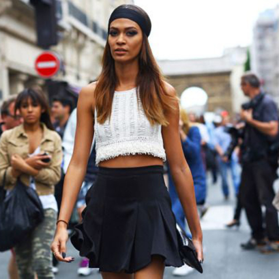 joan smalls, vogue, walking on the street, behind the mirror, like your face