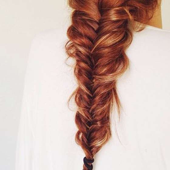 Behind the Mirror, Weekend Inspiration, Long red fishtail braid